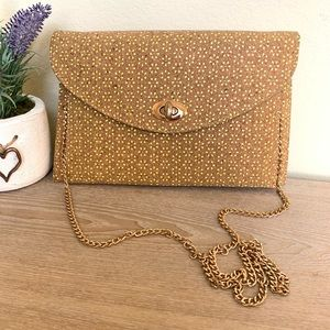 Street Level Cork Crossbody Purse With Gold Chain